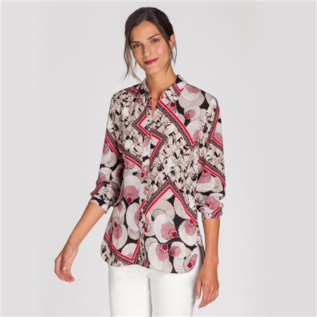 Olsen Shell Print Blouse Beige  - Click to view a larger image