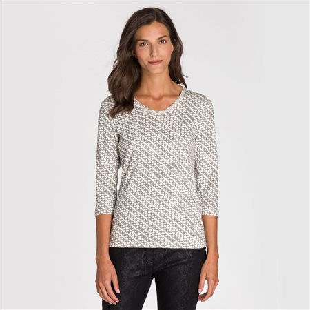 Olsen V Neck Chain Print Top Off White  - Click to view a larger image