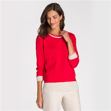 Olsen Round Neck Jumper With Accentuated Cuffs Red  - Click to view a larger image