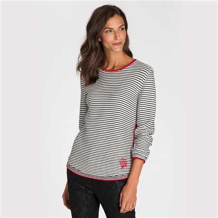 Olsen Striped Jumper Off White  - Click to view a larger image