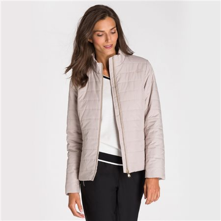 Olsen Quilted Jacket With Subtle Snake Print Beige  - Click to view a larger image