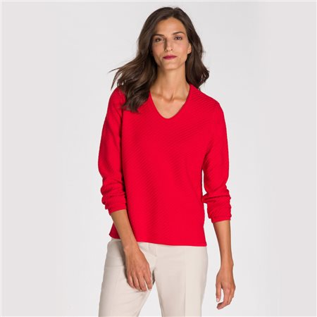 Olsen V Neck Jumper With Diagonal Knit Red  - Click to view a larger image