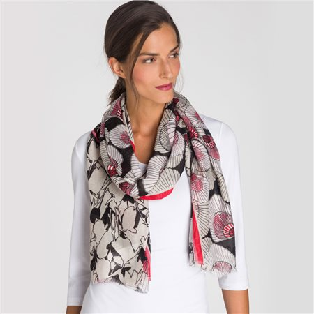 Olsen Shell Print Scarf Beige  - Click to view a larger image