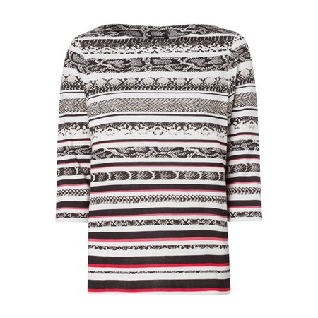 Olsen Stripe And Snake Print Top Black  - Click to view a larger image