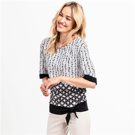 Olsen Chain Print Top With Tie Hem Off White  - Click to view a larger image