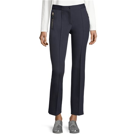 Betty Barclay Crepe Trousers With Zips Blue  - Click to view a larger image