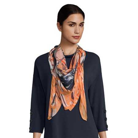 Betty Barclay Floral Print Scarf Blue  - Click to view a larger image