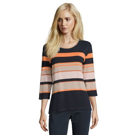 Betty Barclay 3/4 Sleeve Striped Top Blue  - Click to view a larger image