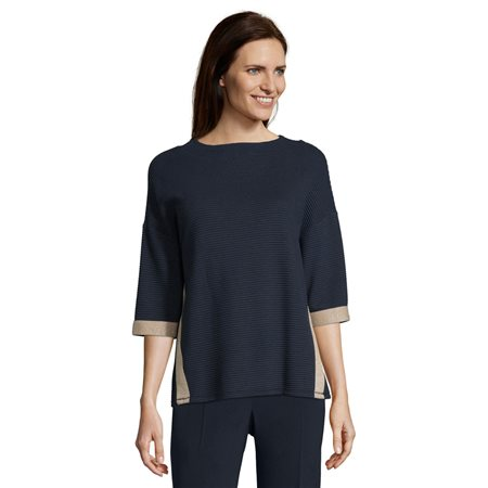 Betty Barclay Ribbed Jersey Top Blue  - Click to view a larger image