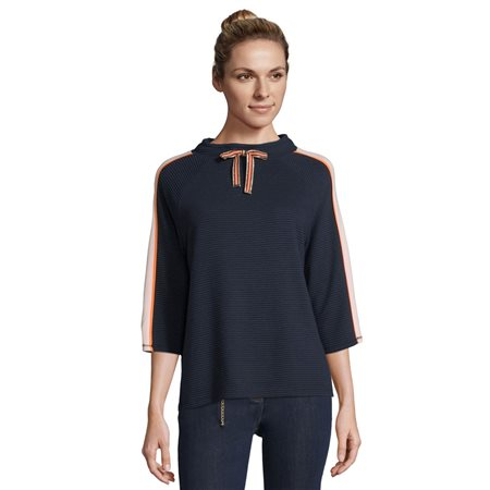 Betty Barclay Ribbed Sweat Top Blue  - Click to view a larger image