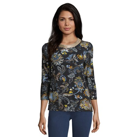 Betty Barclay Paisley Print Top Blue  - Click to view a larger image