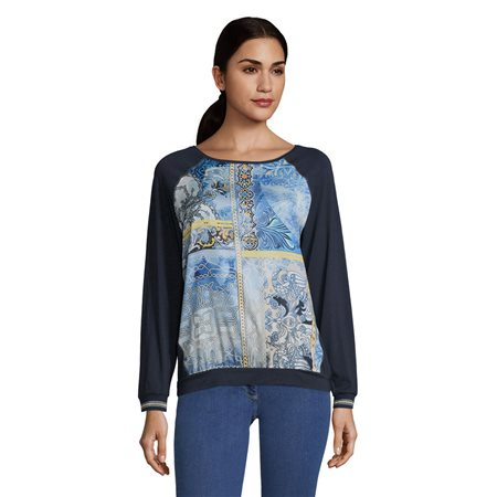Betty Barclay Long Sleeve Graphic Print Top Blue  - Click to view a larger image
