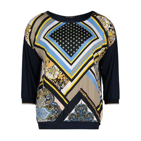 Betty Barclay Graphic Print Top Blue  - Click to view a larger image