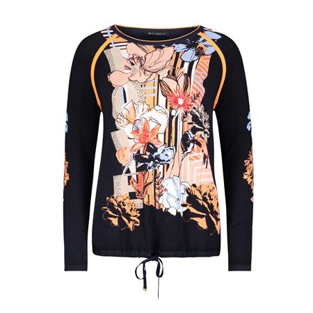 Betty Barclay Floral Print Jumper With Tie Detail Blue  - Click to view a larger image