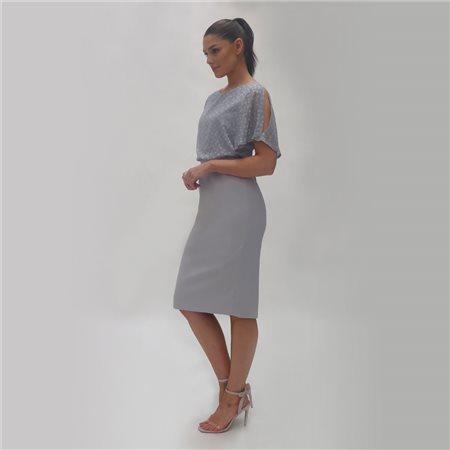 Fee G Chiffon Bodice Dress Grey  - Click to view a larger image