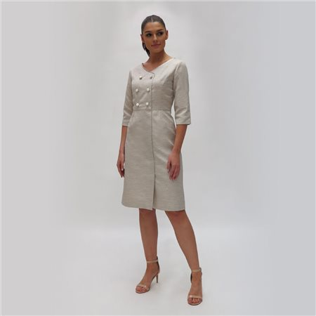 Fee G Button Trimmed Dress Beige  - Click to view a larger image