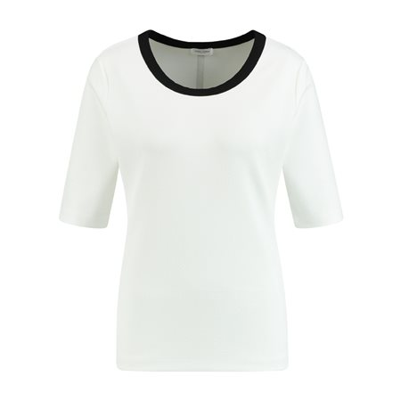 Gerry Weber 1/2 Sleeve Top With Contrast Stripe Off White  - Click to view a larger image