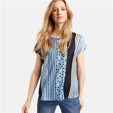 Taifun Spot And Stripe Top Blue  - Click to view a larger image