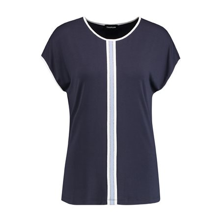 Taifun Contrast Stripe Top Blue  - Click to view a larger image