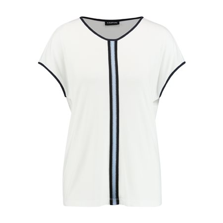 Taifun Contrast Stripe Top Off White  - Click to view a larger image