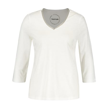 Taifun 3/4 Sleeve V Neck Top Off White  - Click to view a larger image