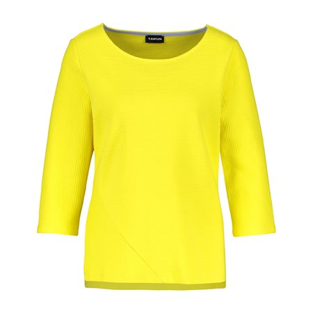 Taifun 3/4 Sleeve Ribbed Top Yellow  - Click to view a larger image