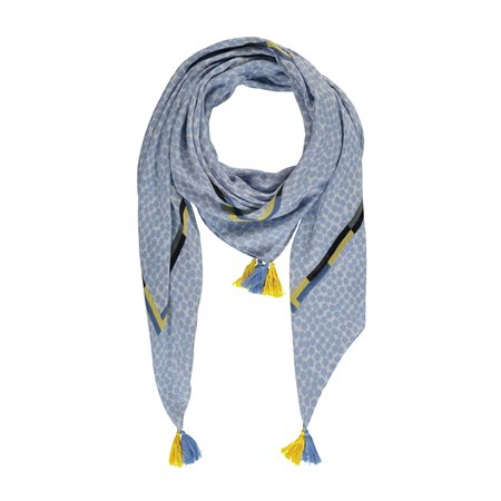 Taifun Tassle Scarf Blue  - Click to view a larger image