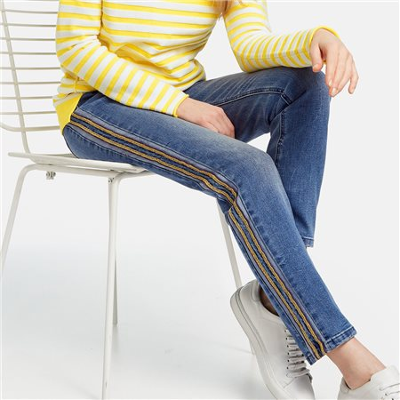 Taifun Skinny Jeans With Stripe Detail Blue  - Click to view a larger image