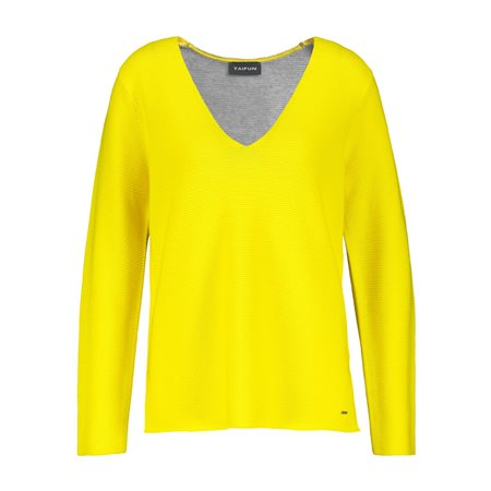 Taifun Jumper With Contrast Back Yellow  - Click to view a larger image