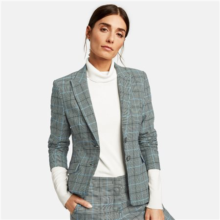 Taifun Check Pattern Blazer Grey  - Click to view a larger image