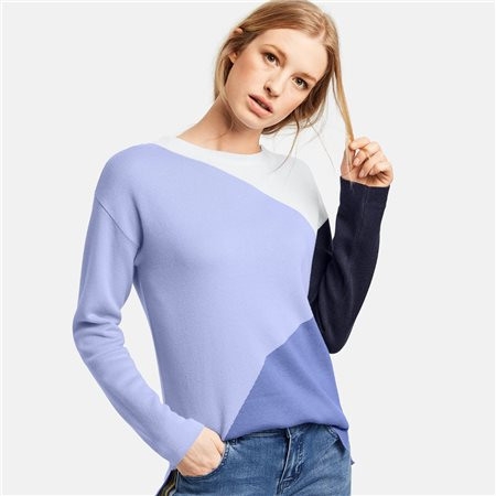 Taifun Colourblock Jumper Blue  - Click to view a larger image