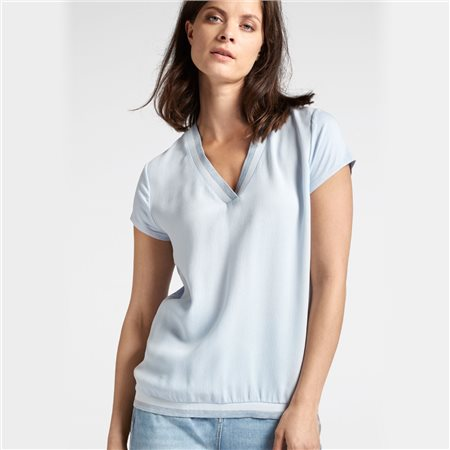 Sandwich V Neck Top Blue  - Click to view a larger image