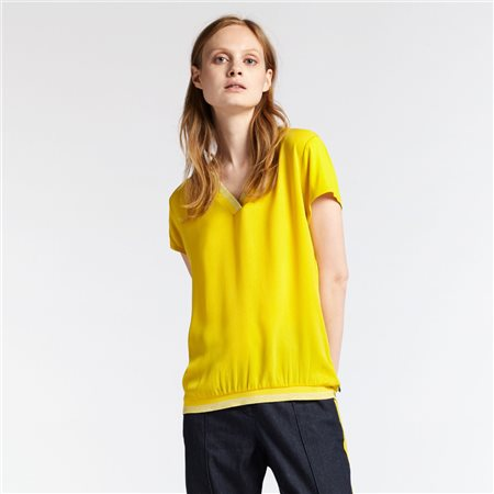 Sandwich V Neck Top Yellow  - Click to view a larger image