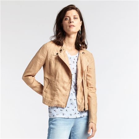 Sandwich Linen Jacket Camel  - Click to view a larger image