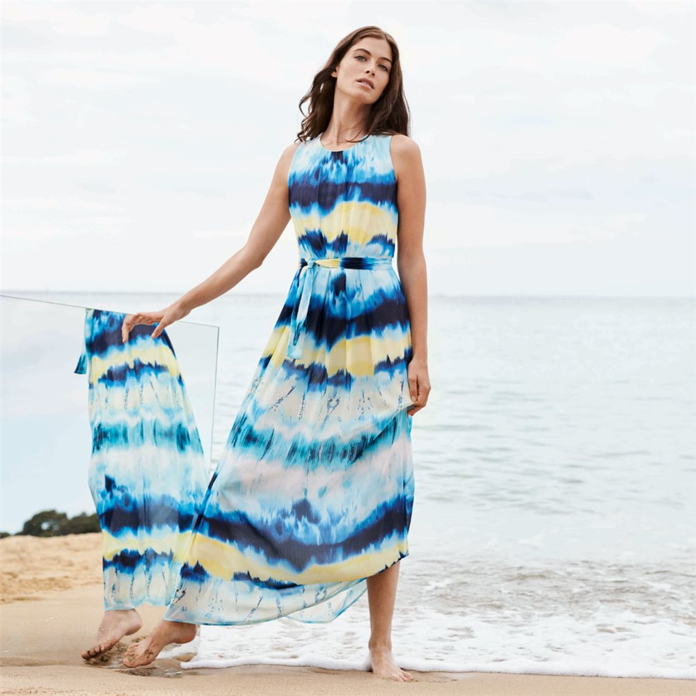 Taifun Watercolour Maxi Dress Blue 1