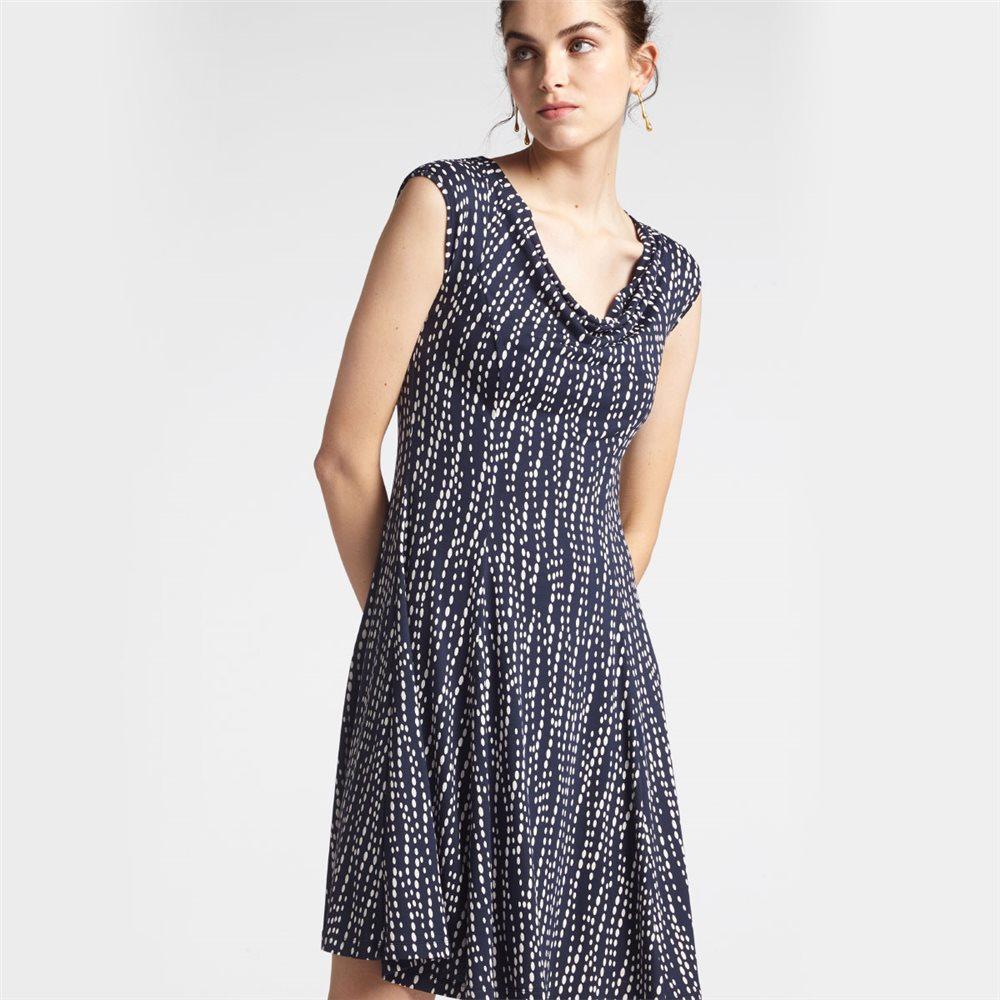 Gepunktetes Kleid mit Wasserfallausschnitt - XS