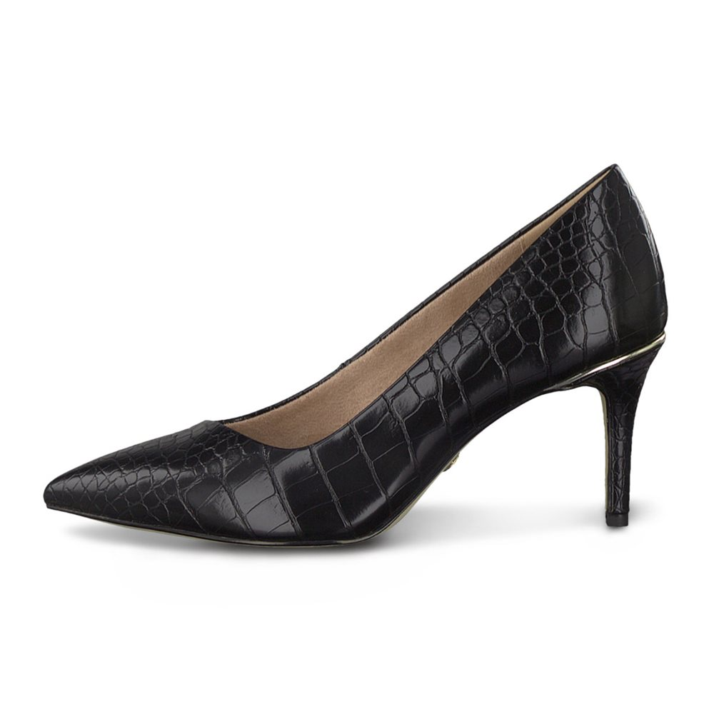 Tamaris Almera Snake Court Shoe Black 1