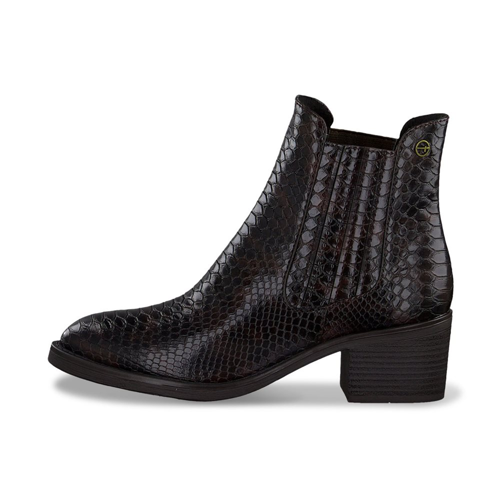 Tamaris Linea Snake Print Chelsea Boot Brown 1