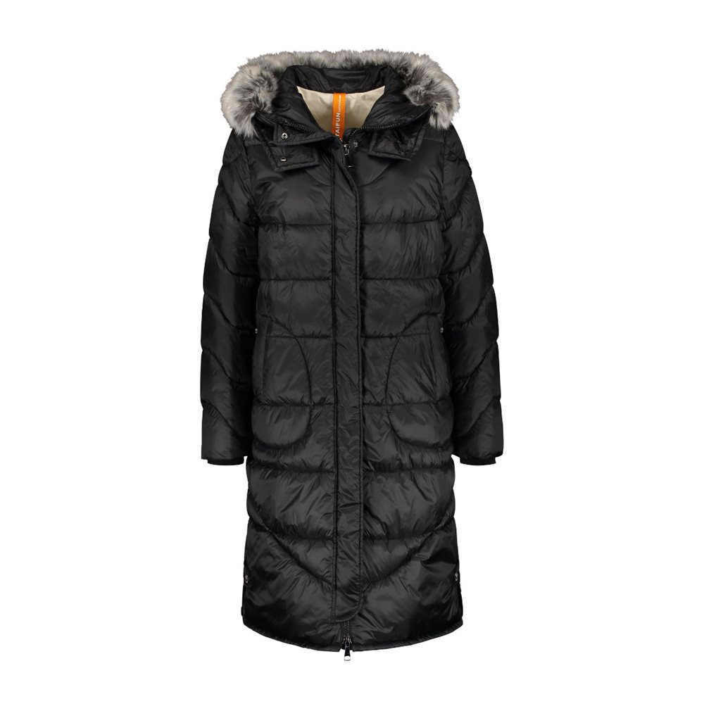 Taifun Mid Length Hooded Coat Black 1