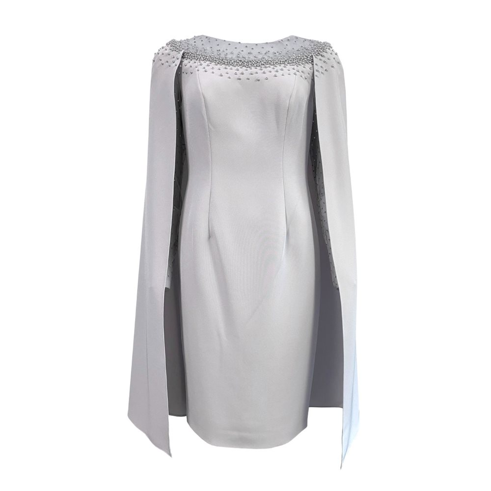 Ronald Joyce 991607 Dress With Cape Silver 1