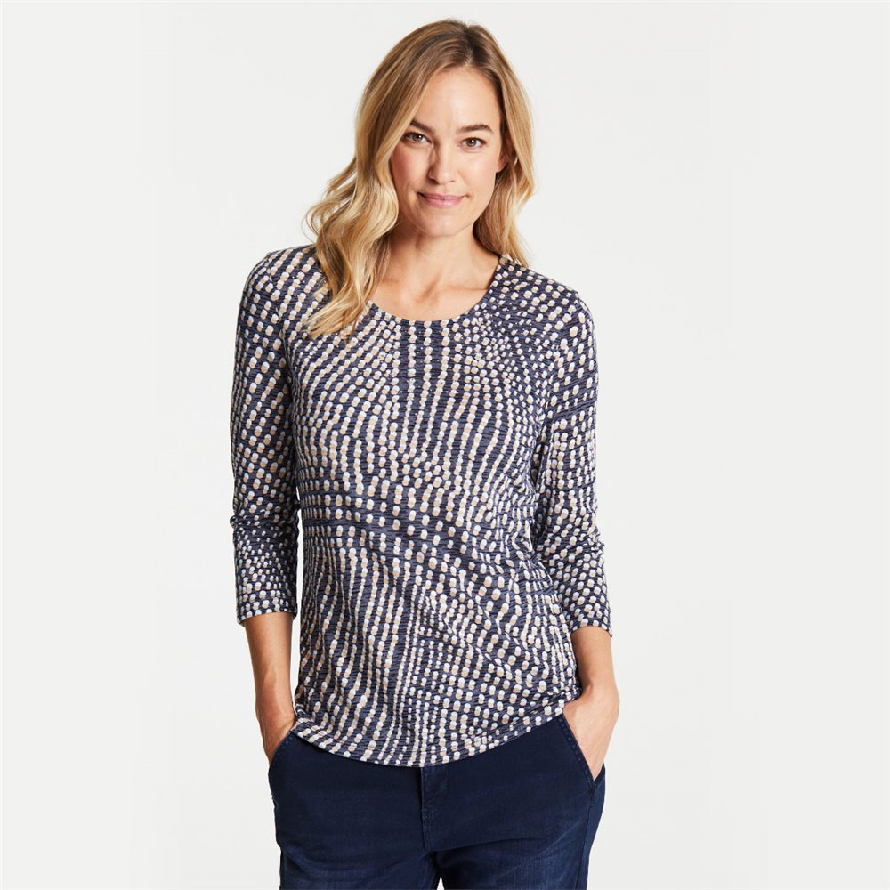 Gerry Weber Dot Print Burnout Top Navy 1