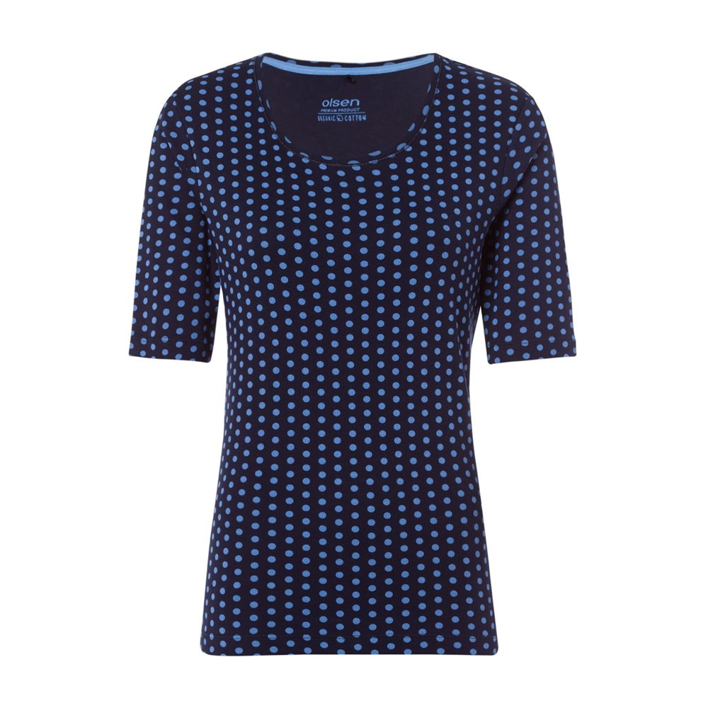 Olsen Dot Print Top Navy 1