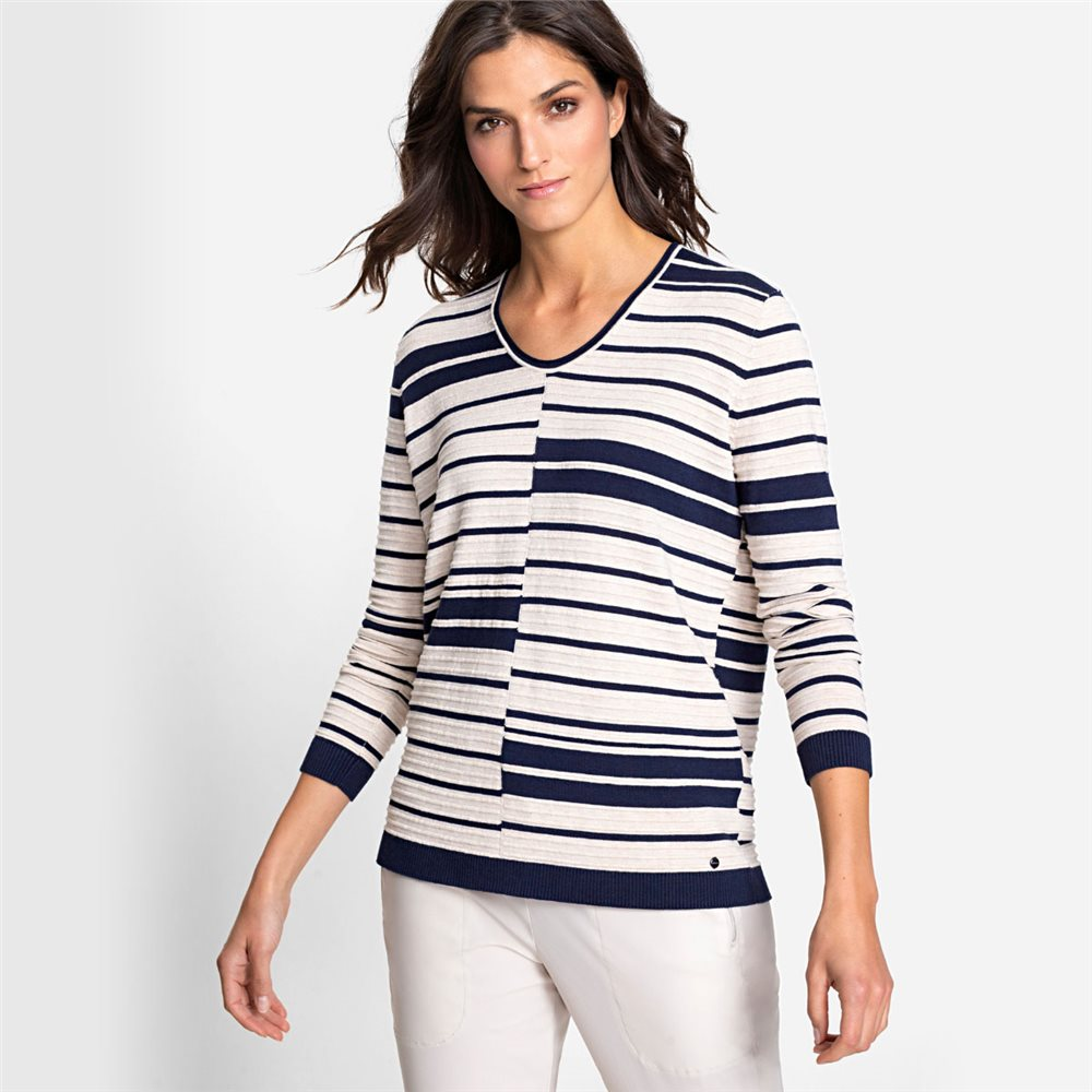 Olsen V-Neck Jumper With Abstract Stripe Pattern Navy 1