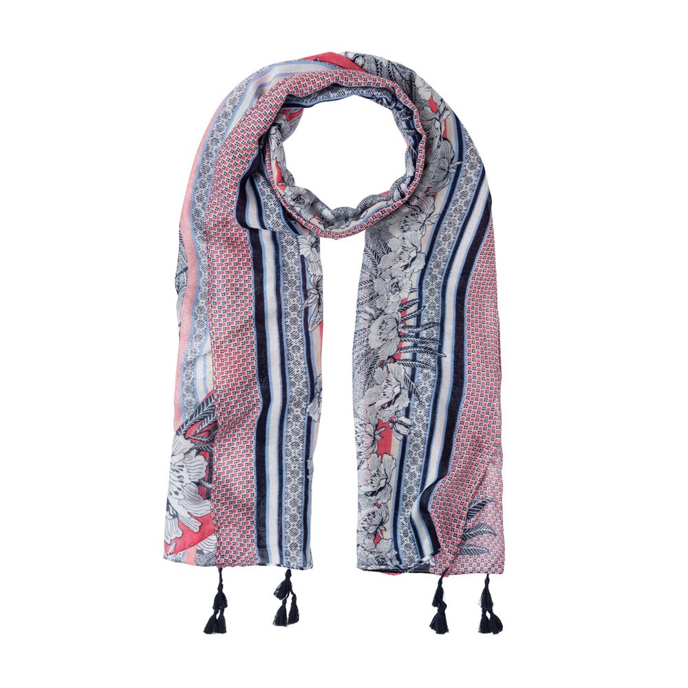 Olsen Coastal Print Scarf With Tassel Detail Raspberry 1