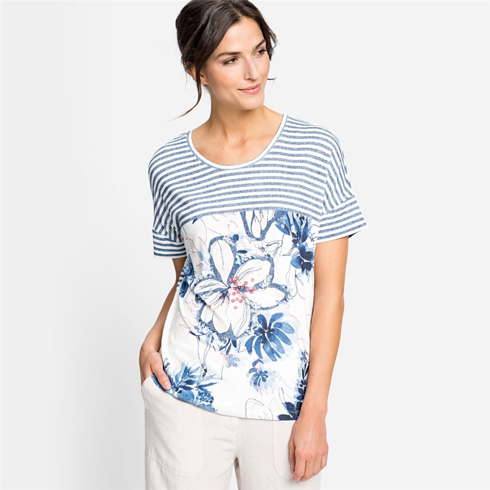 Olsen Stripe And Floral Print Top Blue 1