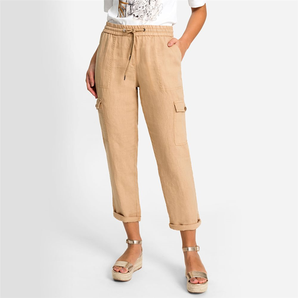 Olsen Linen Trousers With Side Pocket Detail Beige 1