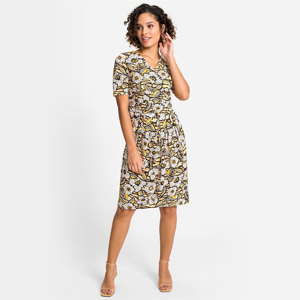 Olsen Floral Print Dress Lemon 1