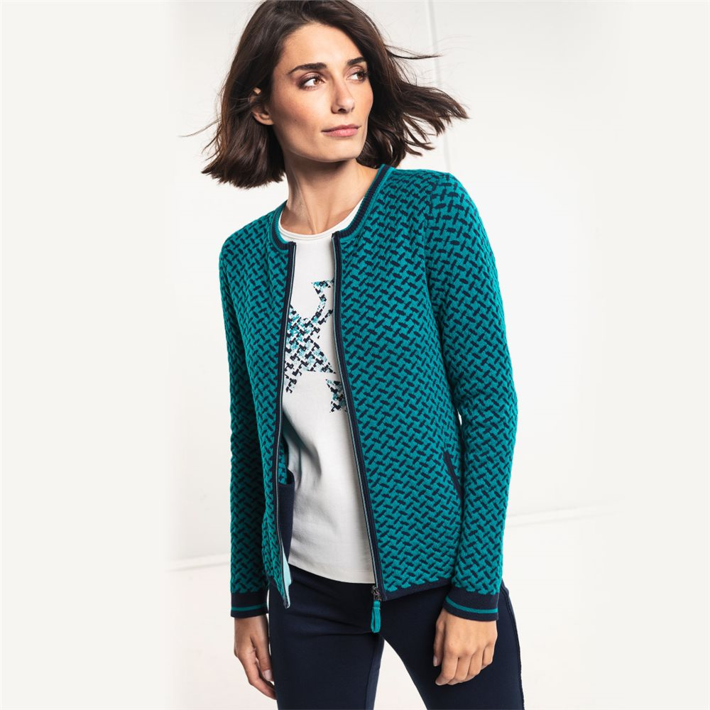 OLSEN CARDIGAN WITH TWO WAY ZIPPER GREEN